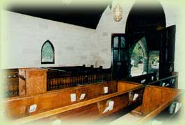 An interior photo of the restored Riverside Cemetery Chapel